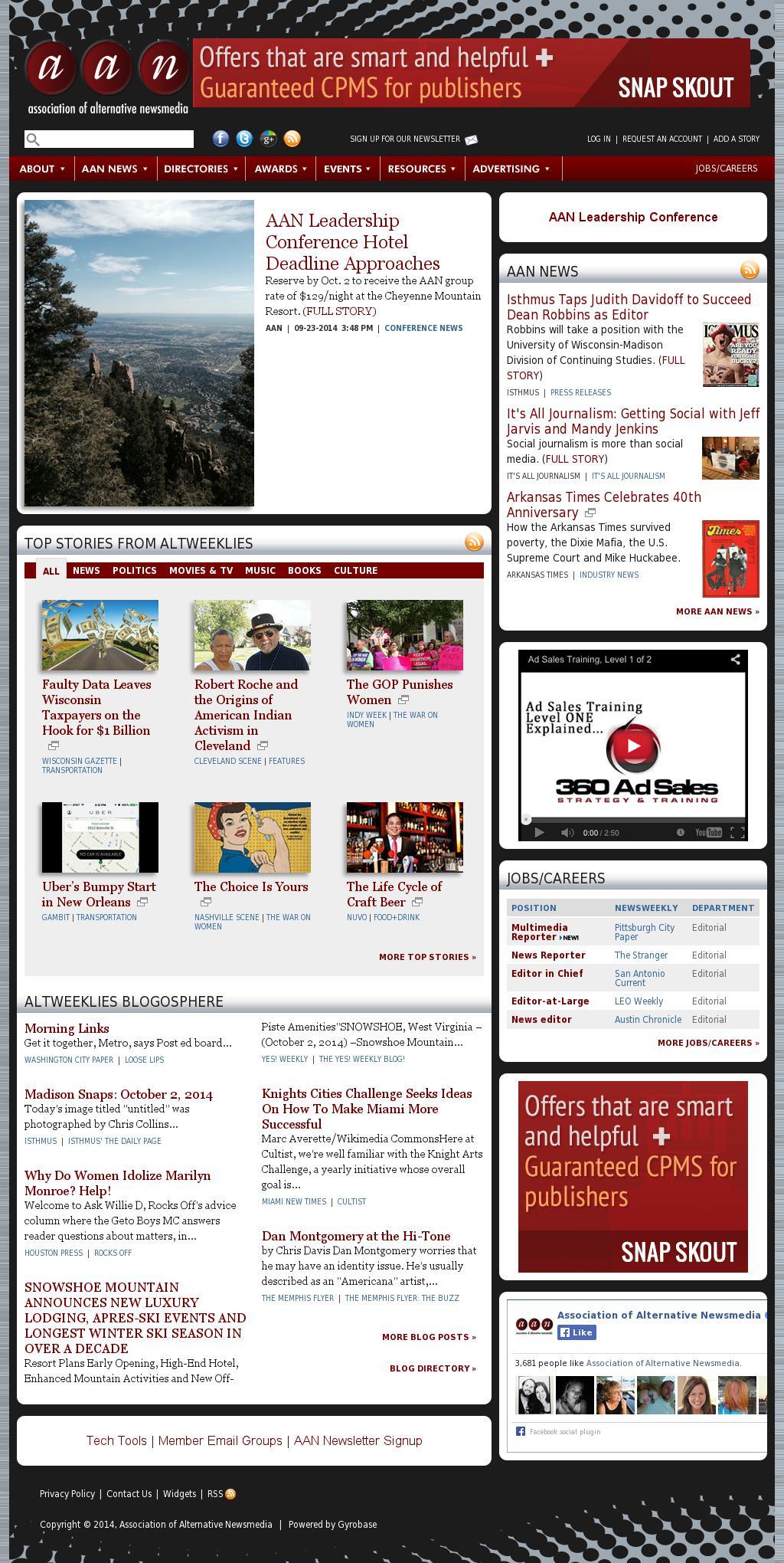 Association of Alternative Newsmedia at Thursday Oct. 2, 2014, 1 p.m. UTC