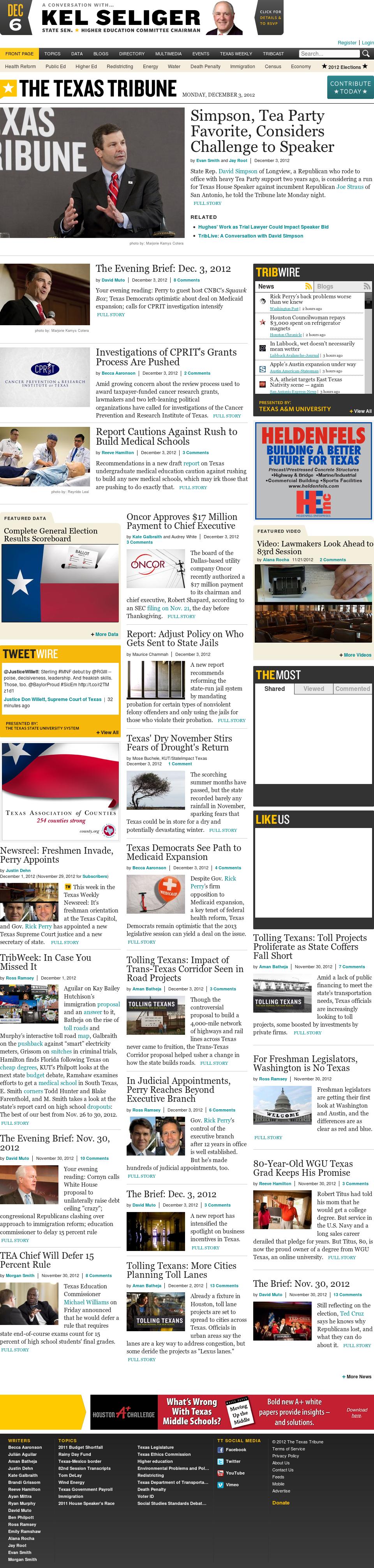The Texas Tribune at Tuesday Dec. 4, 2012, 5:38 a.m. UTC