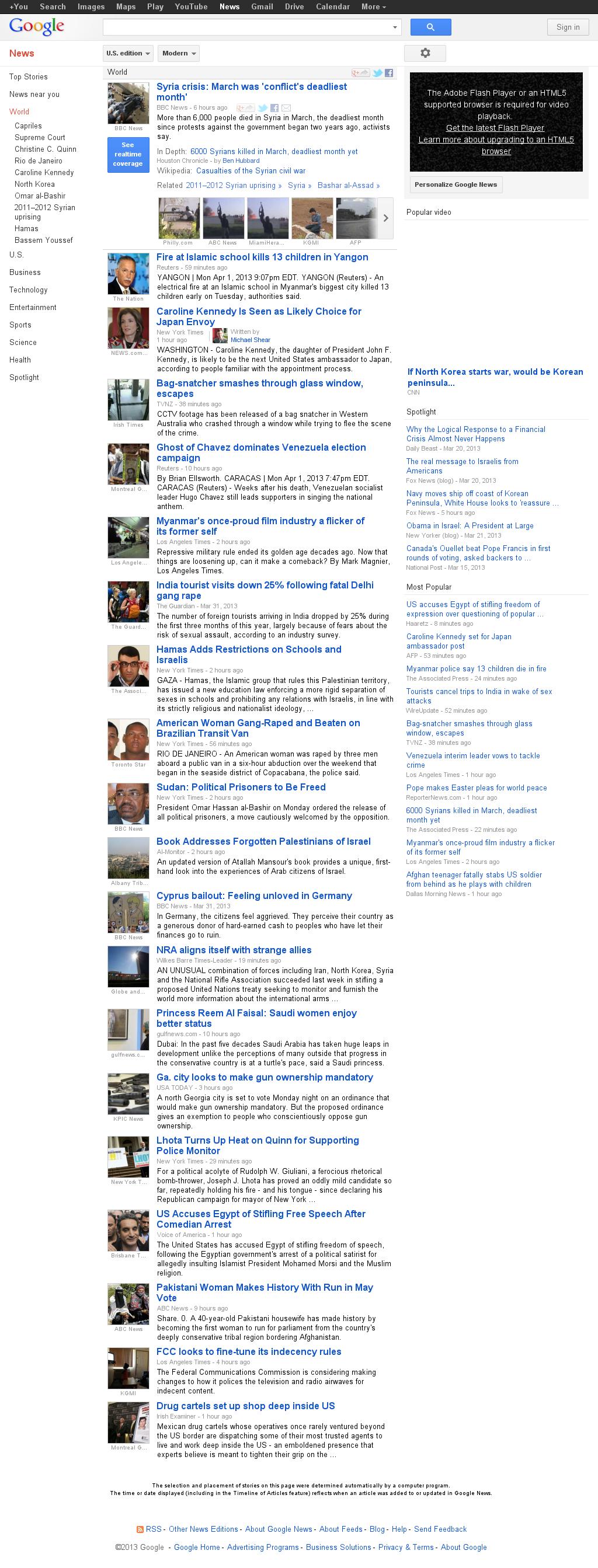 Google News: World at Tuesday April 2, 2013, 2:08 a.m. UTC