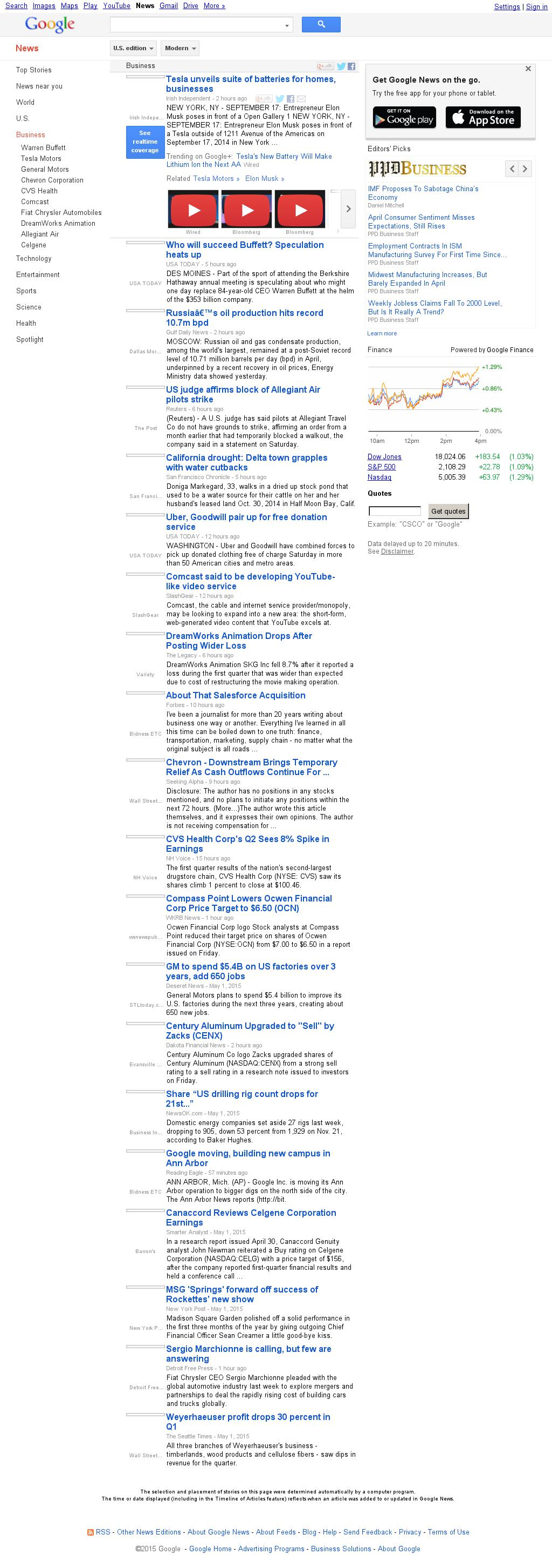 Google News: Business at Sunday May 3, 2015, 5:06 a.m. UTC