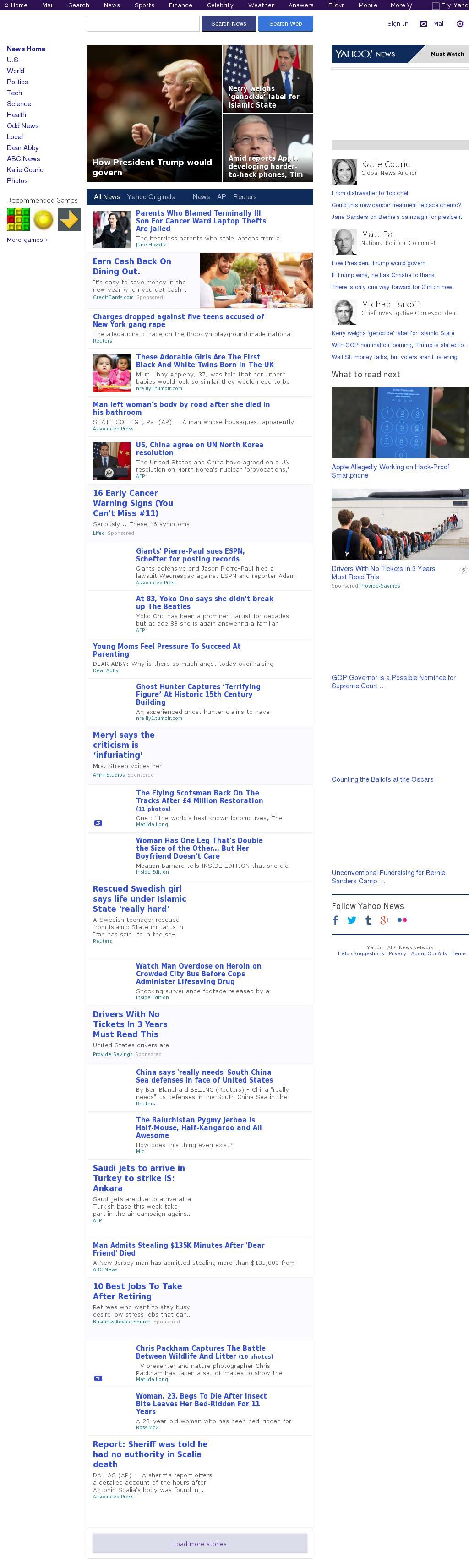 Yahoo! News at Thursday Feb. 25, 2016, 3:28 p.m. UTC