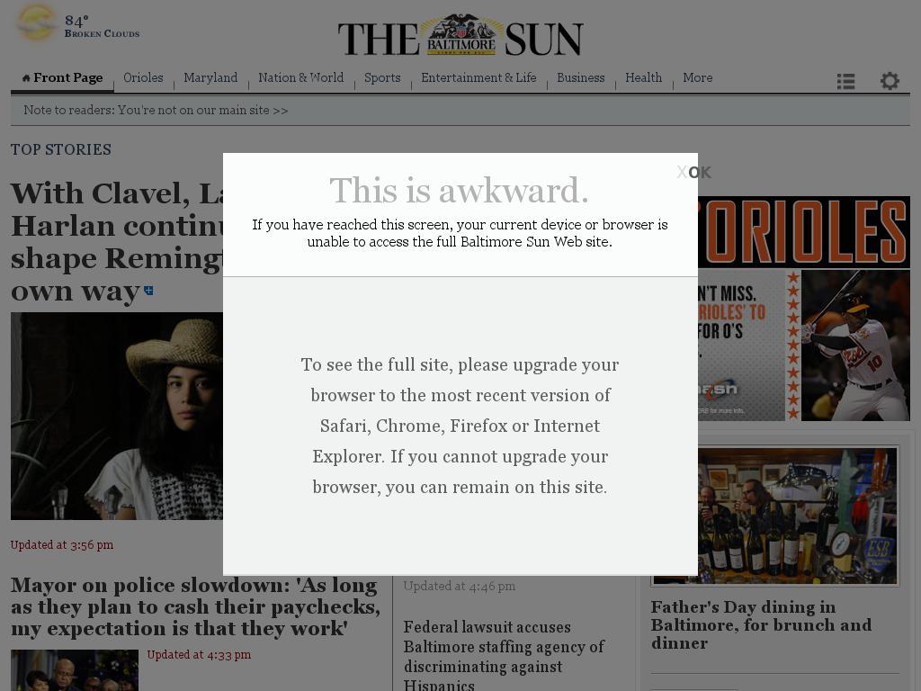 The Baltimore Sun at Wednesday June 17, 2015, 6 p.m. UTC