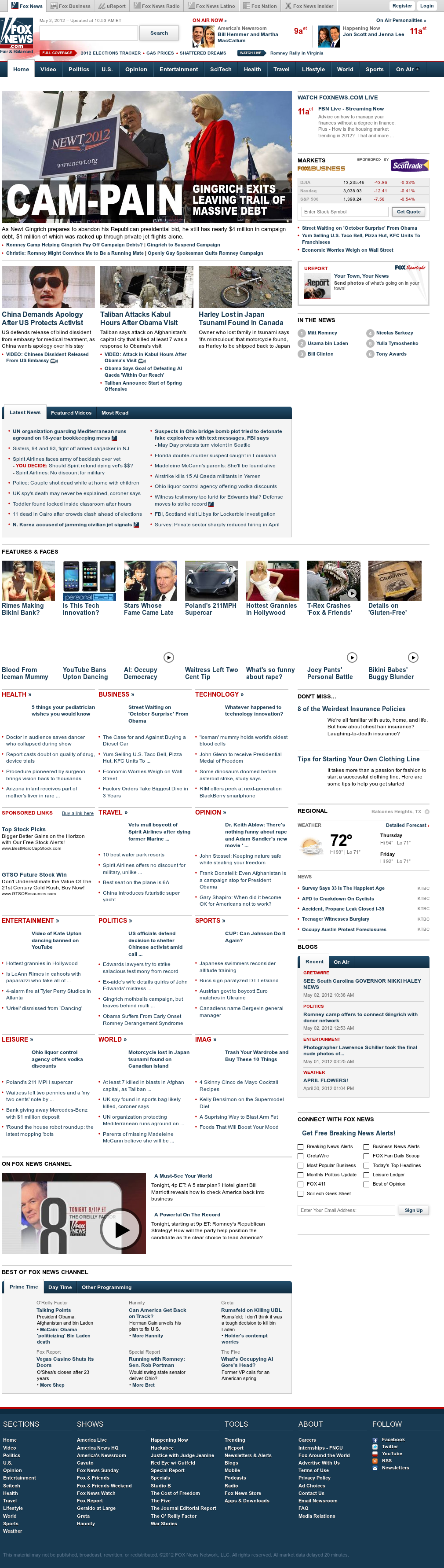 Fox News at Wednesday May 2, 2012, 3:06 p.m. UTC