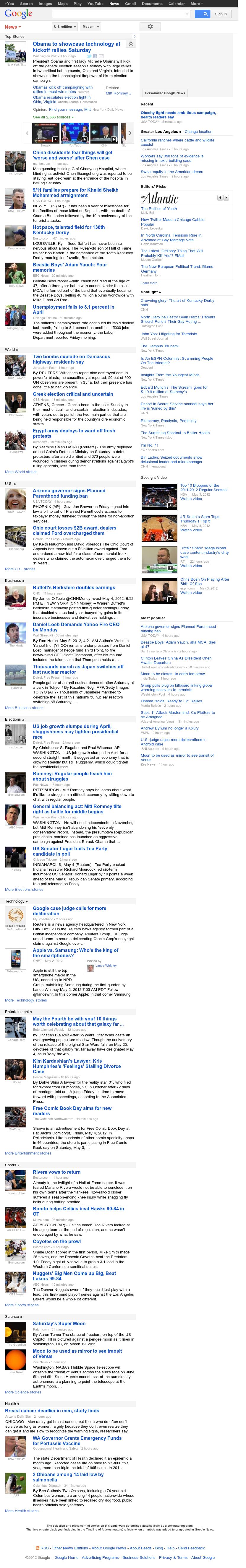 Google News at Saturday May 5, 2012, 10:05 a.m. UTC