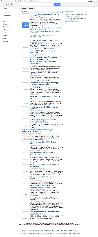 Google News: Elections at Sunday Aug. 31, 2014, 11:07 p.m. UTC