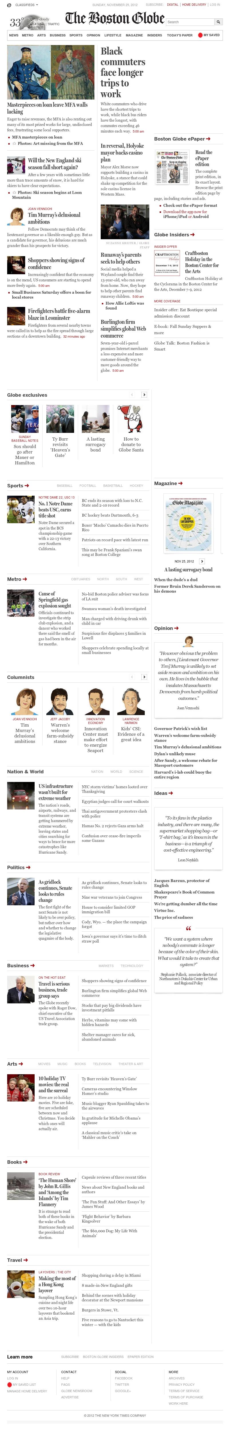 The Boston Globe at Sunday Nov. 25, 2012, 7:02 a.m. UTC