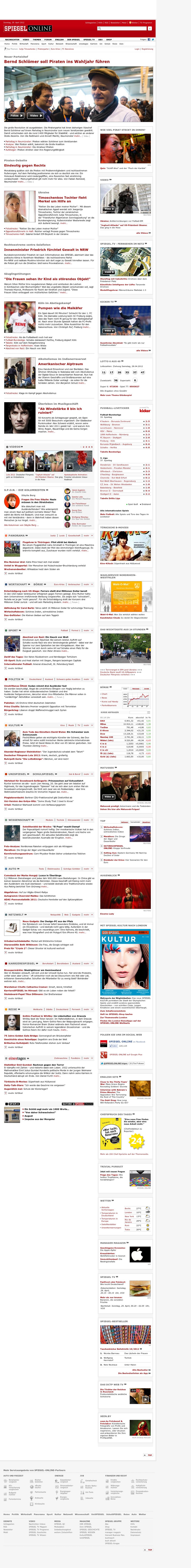 Spiegel Online at Saturday April 28, 2012, 10:15 p.m. UTC