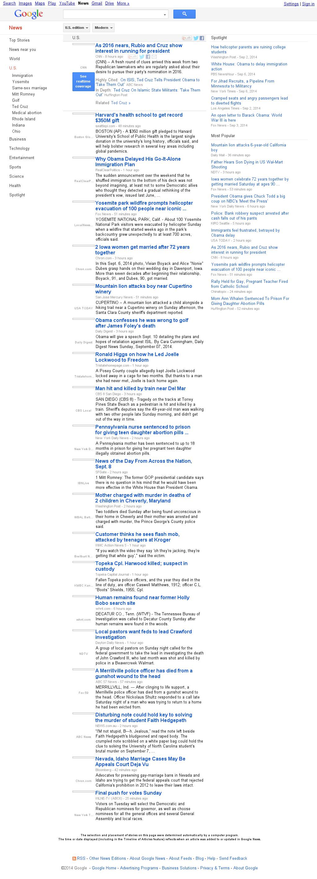 Google News: U.S. at Monday Sept. 8, 2014, 5:07 a.m. UTC