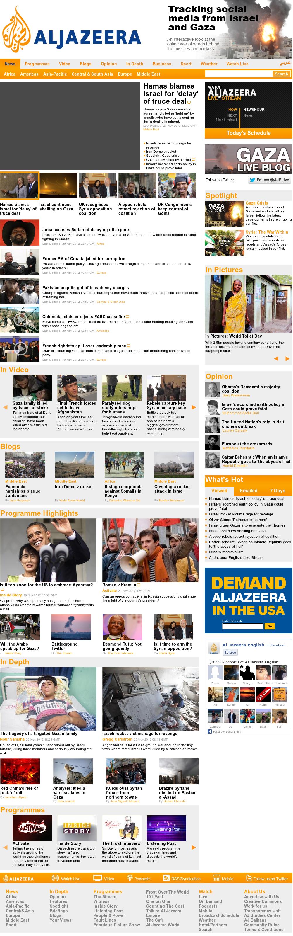 Al Jazeera (English) at Tuesday Nov. 20, 2012, 11:18 p.m. UTC
