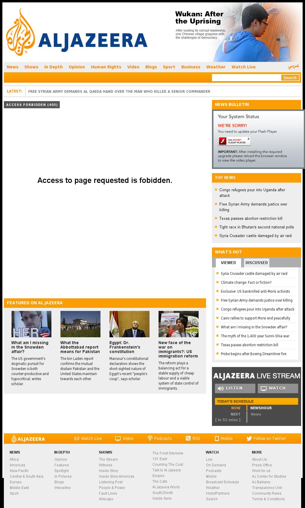 Al Jazeera (English) at Saturday July 13, 2013, 1:09 p.m. UTC