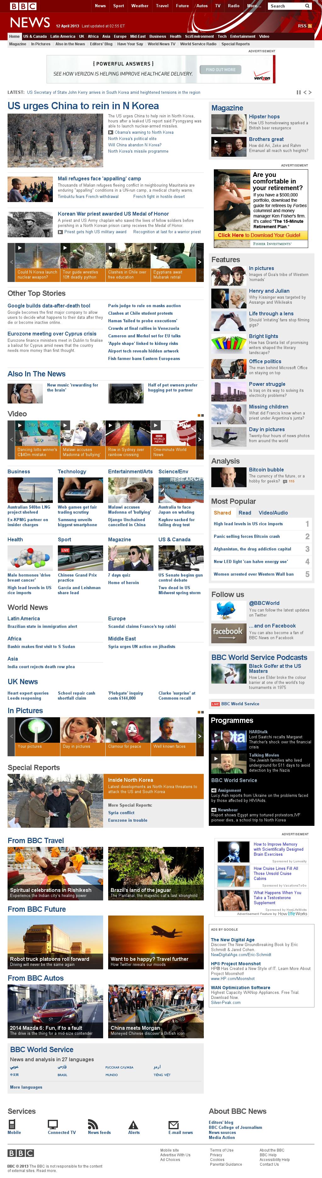BBC at Friday April 12, 2013, 7:01 a.m. UTC