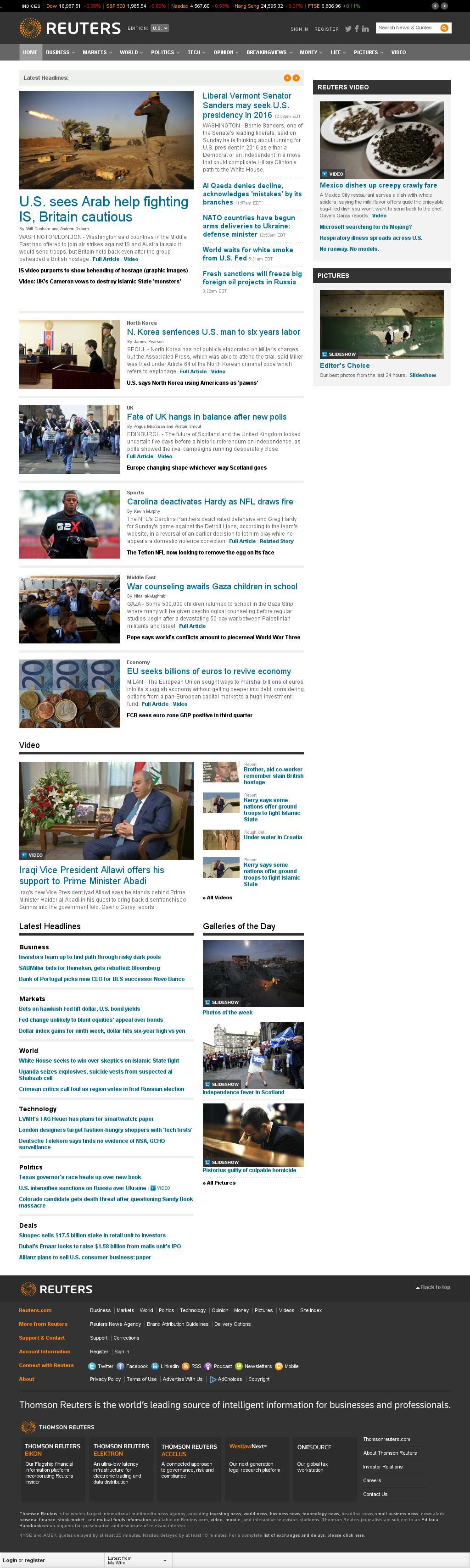 Reuters at Sunday Sept. 14, 2014, 8:15 p.m. UTC