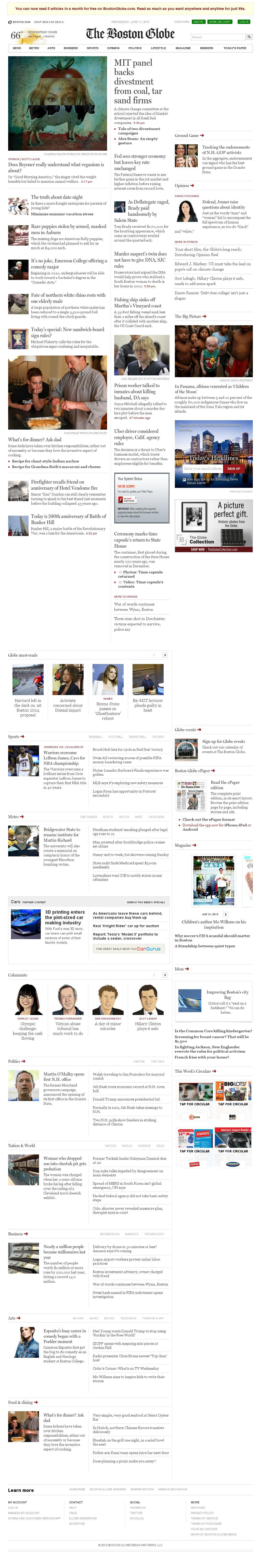 The Boston Globe at Wednesday June 17, 2015, 7:01 p.m. UTC
