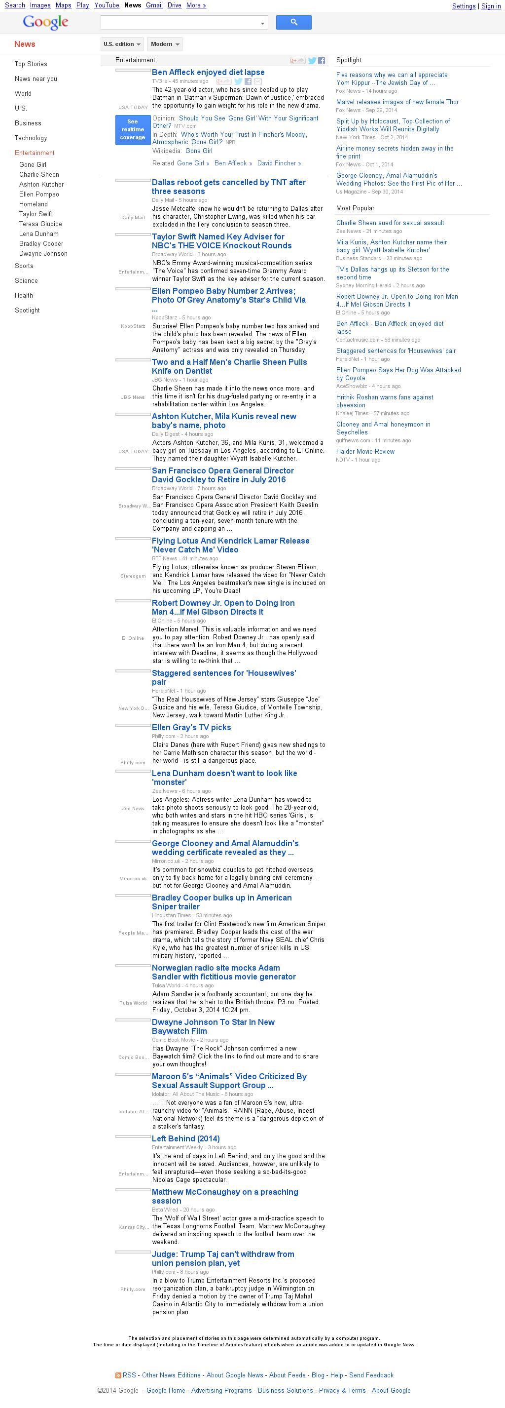 Google News: Entertainment at Saturday Oct. 4, 2014, 9:06 a.m. UTC