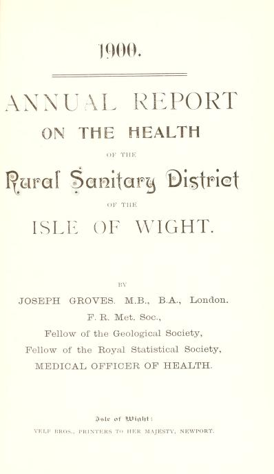 [Report 1900] by Isle of Wight (England). Rural District Council